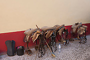 Saddles belonging to the horses of the Corrida de touros (bullfight) at Caldas da Rainha, Portugal. Unlike Spanish bullfights, in the Portuguese version, they do not kill the bull.