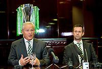 21/11/14<br /> CELTIC PARK - GLASGOW<br /> Celtic Chairman Ian Bankier (left) joins Manager Ronny Deila as he speaks to the media
