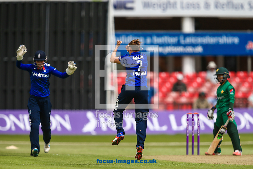 Sidra Nawaz (right) is dismissed caught Amy Jones of England (left)  off of the bowling of Laura Marsh of England (centre) during the Royal London One Day Series match at Fischer County Ground, Leicester<br /> Picture by Andy Kearns/Focus Images Ltd 0781 864 4264<br /> 21/06/2016