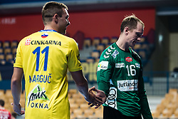 Mikael Aggefors  of Aalborg Handbold with Gal Marguc  of RK Celje Pivovarna Lasko during handball match between RK Celje Pivovarna Lasko (SLO) and Aalborg Handbold (DEN) in Group Phase B of EHF Champions League 2020/21, on 16 September, 2020 in Arena Zlatorog, Celje, Slovenia. Photo by Grega Valancic / Sportida