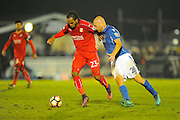 Nathan Delfouneso (23) of Swindon Town battles for possession with Jason Taylor (28) of Eastleigh during the The FA Cup match between Eastleigh and Swindon Town at Arena Stadium, Eastleigh, United Kingdom on 4 November 2016. Photo by Graham Hunt.