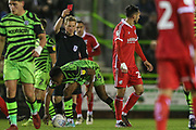Scunthorpe United's Levi Sutton(22) is shown a red card, sent off during the EFL Sky Bet League 2 match between Forest Green Rovers and Scunthorpe United at the New Lawn, Forest Green, United Kingdom on 7 December 2019.