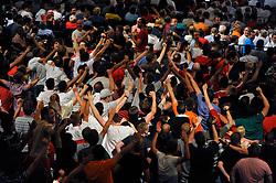 22.07.2013, Porsche-Arena, Stuttgart, GER, 1. FBL, VfB Stuttgart Mitgliederversammlung, im Bild VfB-Mitglieder jubeln über Wahl des Traditionswappens zum neuen Wappen des VfB Jubel,,  // during General Assembly of German Bundesliga Club VfB Stuttgart at the Porsche-Arena, Stuttgart, Germany on 2013/07/22. EXPA Pictures © 2013, PhotoCredit: EXPA/ Eibner/ Michael Weber<br /> <br /> ***** ATTENTION - OUT OF GER *****