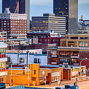 View of Crossroads District area of downtown Kansas City, MO from top of Webster House Garage at 17th & Wyandotte.