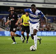 Jay Emmanuel-Thomas (QPR midfielder) with another QPR attack in a tight first half during the Capital One Cup match between Queens Park Rangers and Carlisle United at the Loftus Road Stadium, London, England on 25 August 2015. Photo by Matthew Redman.