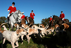 UK ENGLAND SURREY TILFORD 13NOV04 - Huntsmen sitting on horseback are surrounded by hounds as they prepare for a foxhunt near the village of Tilford in southern Surrey. Foxhunting in rural Surrey with the Surrey Hunters Union, founded in 1798. ....jre/Photo by Jiri Rezac ....© Jiri Rezac 2004....Contact: +44 (0) 7050 110 417..Mobile:  +44 (0) 7801 337 683..Office:  +44 (0) 20 8968 9635....Email:   jiri@jirirezac.com..Web:    www.jirirezac.com....© All images Jiri Rezac 2004 - All rights reserved.