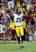 Pittsburgh Steelers free safety Mike Mitchell (23) raises his arms in celebration after an apparent fumble recovery later ruled an incomplete pass in the fourth quarter during the 2016 NFL week 1 regular season football game against the Washington Redskins on Monday, Sept. 12, 2016 in Landover, Md. The Steelers won the game 38-16. (©Paul Anthony Spinelli)