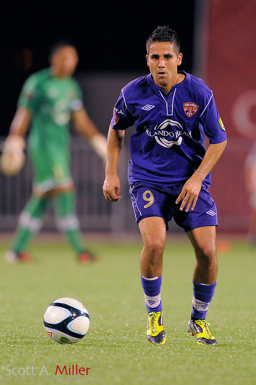 Orlando City Lions midfielder Rodrigo Lopez (9) during the Lions game against the Wilmington Hammerheads at the Florida Citrus Bowl on July 25, 2012 in Orlando, Florida. ..©2012 Scott A. Miller