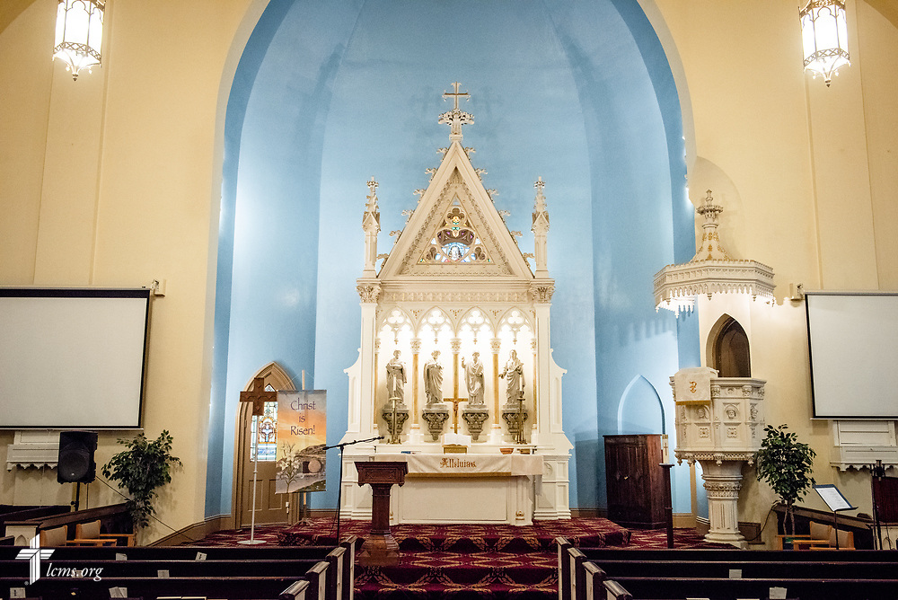 The altar and sanctuary of Prince of Peace Lutheran Church in the Over-the-Rhine neighborhood of Cincinnati, on Wednesday, May 16, 2018, in Cincinnati. LCMS Communications/Frank Kohn