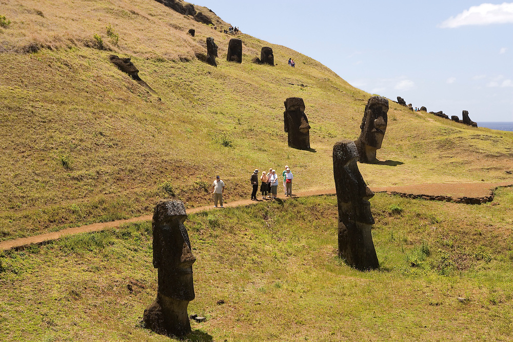 Rano Raraku - the quarry where the moais were carved, Easter Island, Chile