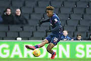 Portsmouth midfielder Jamal Lowe (18) crosses during the EFL Sky Bet League 1 match between Milton Keynes Dons and Portsmouth at stadium:mk, Milton Keynes, England on 10 February 2018. Picture by Dennis Goodwin.