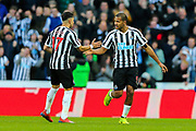 Jose Salomon Rondon (#9) of Newcastle United celebrates Newcastle United's first goal (1-2) with Ayoze Perez (#17) of Newcastle United during the Premier League match between Newcastle United and Everton at St. James's Park, Newcastle, England on 9 March 2019.