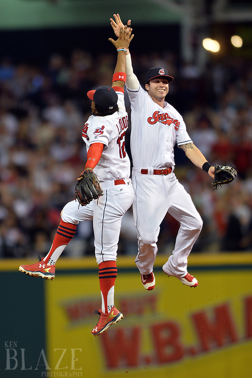 Sep 3, 2016; Cleveland, OH, USA; Cleveland Indians shortstop Francisco Lindor (12) and center fielder Tyler Naquin (30) celebrate the Cleveland Indians 8-3 win over the Miami Marlins at Progressive Field. Mandatory Credit: Ken Blaze-USA TODAY Sports