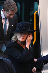 The 7th Duke of Westminster, Hugh Grosvenor and his mother Natalia Grosvenor, Duchess of Westminster, arriving for a memorial service to celebrate the life of the sixth Duke of Westminster at Chester Cathedral, Chester.