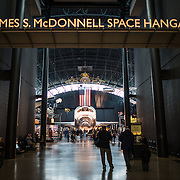 The entrance to the James S. McDonnell Space Hangar, with the Space Shuttle Discovery seen through the corridor. The decommissioned Discovery is on permanent display in the James S. McDonnell Space Hangar at the Smithsonian's National Air and Space Museum's Udvar-Hazy Center in Chantilly, Virginia, just outside Washington DC. The shuttle arrived at the museum on April 19, 2012, and replaces the Space Shuttle Enterprise.