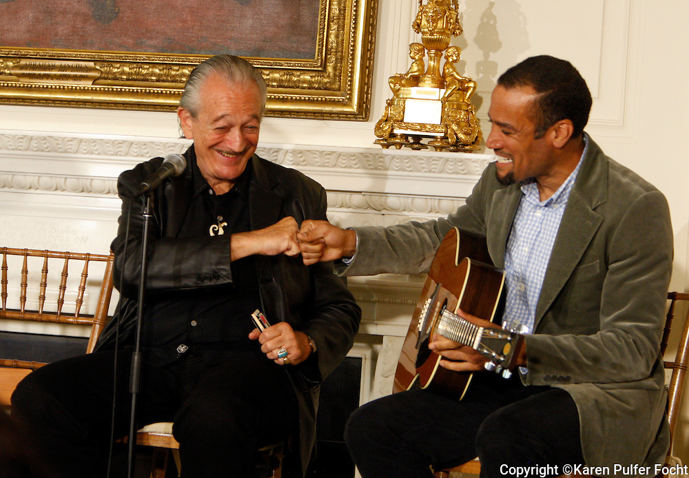 "April 9, 2013 - Harmonica great Charlie Musselwhite and Ben Harper played a song together during a Memphis music workshop in the State Dining Room at the White House on Tuesday. The workshop event: ""Soulsville, USA: The History of Memphis Soul""  was attended by students from all over the country, including two from Stax Academy in Memphis.  It was hosted by Michelle Obama. Musselwhite grew up in Memphis and recently recorded with Ben Harper.  Harper plays an eclectic mix of blues, folk, soul, reggae and rock music. Harper, who is not from Memphis,  said during the workshop, that he was influenced by many of the artists in the room."