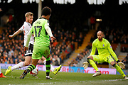 Wolverhampton Wanderers striker Helder Costa (17) gets a cross in to the box to assist Wolverhampton Wanderers midfielder Dave Edwards (4) during the EFL Sky Bet Championship match between Fulham and Wolverhampton Wanderers at Craven Cottage, London, England on 18 March 2017. Photo by Andy Walter.
