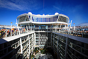The cruise ship Oasis of the Seas. The ship, currently the largest in the world, is owned by Royal Carribean Cruise Line.