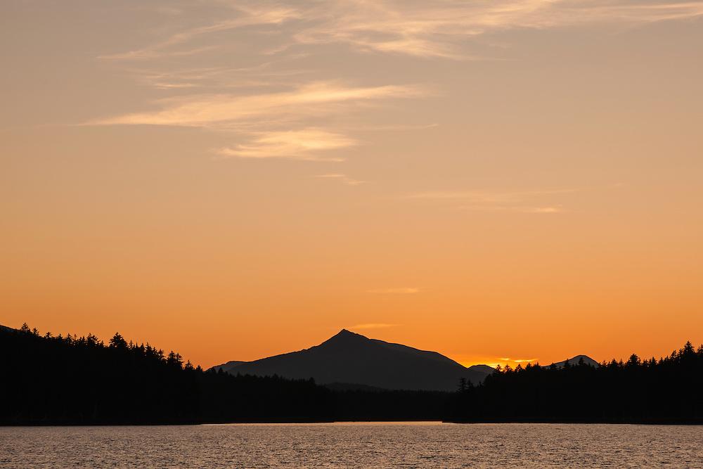 Sunset light in Afognak Bay on Afognak Island in Southwestern Alaska. Summer. Evening.