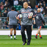 Eddie Jones during the warm up, England v Argentina in an Old Mutual Wealth Series, Autumn International match at Twickenham Stadium, London, England, on 26th November 2016. Full Time score 27-14