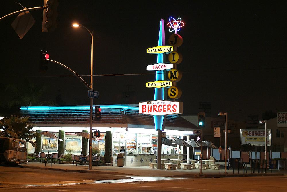 Night shot of Jim's in East Los Angeles, CA 4/06/2008. ..
