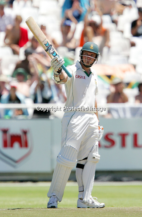 Graeme Smith celebrates his fifty (half century) during the 3rd day of the third test match between South Africa and England held at Newlands Cricket Ground in Cape Town on the 5th January 2010.Photo by: Ron Gaunt/ SPORTZPICS