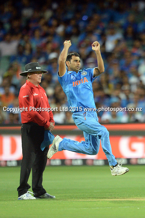 Indian bowler Mohammed Shami into his delivery stride during the ICC Cricket World Cup match between India and Pakistan at Adelaide Oval in Adelaide, Australia. Sunday 15 February 2015. Copyright Photo: Raghavan Venugopal / www.photosport.co.nz