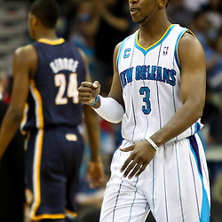 April 3, 2011; New Orleans, LA, USA; during New Orleans Hornets point guard Chris Paul (3) against the Indiana Pacers the fourth quarter at the New Orleans Arena. The Hornets defeated the Pacers 108-96.  Mandatory Credit: Derick E. Hingle