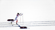 Brittany Webster enters the stadium during women's 10k classic cross country competition on February 13, 2014 at the Laura Cross Country Ski and Biathlon Centre in Krasnaya Polyanna during the XXII Olympic Winter Games in Sochi, Russia.