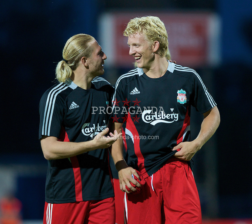 GRENCHEN, SWITZERLAND - Wednesday, July 16, 2008: Liverpool's Andriy Voronin and  Dirk Kuyt after a pre-season friendly at Stadion Bruhl. (Photo by David Rawcliffe/Propaganda)