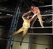 Not Until We Are Lost <br /> Ockham's Razor<br /> directed by Alex Harvey, Tina Koch &amp; Charlotte Mooney <br /> produced by Turtle Key Arts<br /> <br /> as part of the London International Mime Festival <br /> <br /> at Platform Theatre Kings Cross, London, Great Britain <br /> press photocall 10th January 2013 <br /> <br /> Alex Harvey<br /> Luke Horley <br /> Tina Koch &amp; Charlotte Mooney <br /> <br /> Harpist Ruth Wall<br /> <br /> <br /> <br /> Photograph by Elliott Franks
