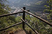 Coner posts of fencing above the South Tyrolean town of Klausen-Chiusa in northern Italy.
