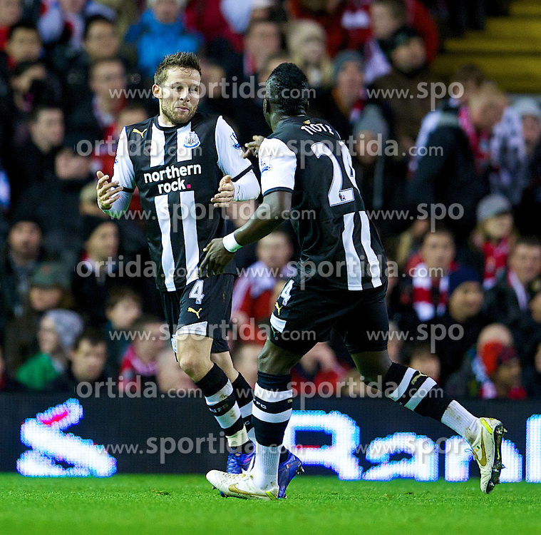 30.12.2011, Anfield Stadion, Liverpool, ENG, PL, FC Liverpool vs Newcastle United, 19. Spieltag, im Bild Newcastle United's Yohan Cabaye and Cheick Tiote celebrate opening the scoring against Liverpool during the football match of English premier league, 19th round, between FC Liverpool and Newcastle United at Anfield Stadium, Liverpool, United Kingdom on 2011/12/30. EXPA Pictures © 2011, PhotoCredit: EXPA/ Propagandaphoto/ David Rawcliff..***** ATTENTION - OUT OF ENG, GBR, UK *****