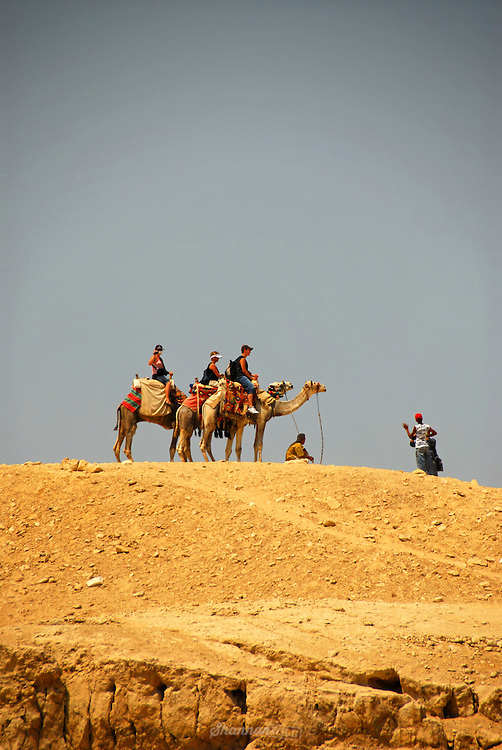 Tourists brave the heat on the back of camels at the Pyramids of Giza, Egypt. (Pyramids not in photo)