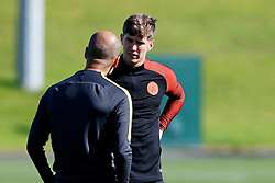 Manchester City manager Josep Guardiola talks with John Stones  - Mandatory by-line: Matt McNulty/JMP - 23/08/2016 - FOOTBALL - Manchester City - Training session ahead of Champions League qualifier against Steaua Bucharest