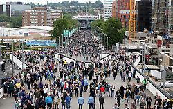 The view down Wembley Way as Plymouth Argyle and AFC Wimbledon fans arrive for the League Two Playoff Final - Mandatory by-line: Robbie Stephenson/JMP - 30/05/2016 - FOOTBALL - Wembley Stadium - London, England - AFC Wimbledon v Plymouth Argyle - Sky Bet League Two Play-off Final