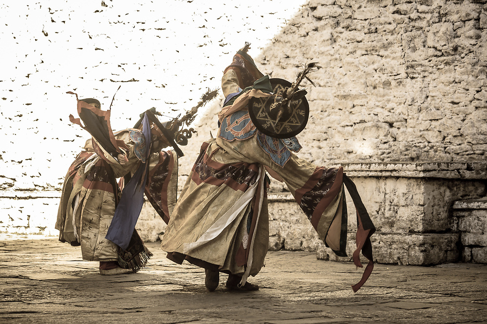 Dancers in Trongsa festival. Bhutan.