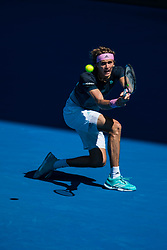 January 21, 2019 - Melbourne, VIC, U.S. - MELBOURNE, VIC - JANUARY 21: ALEXANDER ZVEREV (GER) during day eight match of the 2019 Australian Open on January 21, 2019 at Melbourne Park Tennis Centre Melbourne, Australia (Photo by Chaz Niell/Icon Sportswire (Credit Image: © Chaz Niell/Icon SMI via ZUMA Press)