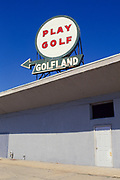 """Play Golf"" sign for Golfland above building in Asbury Park, New Jersey"