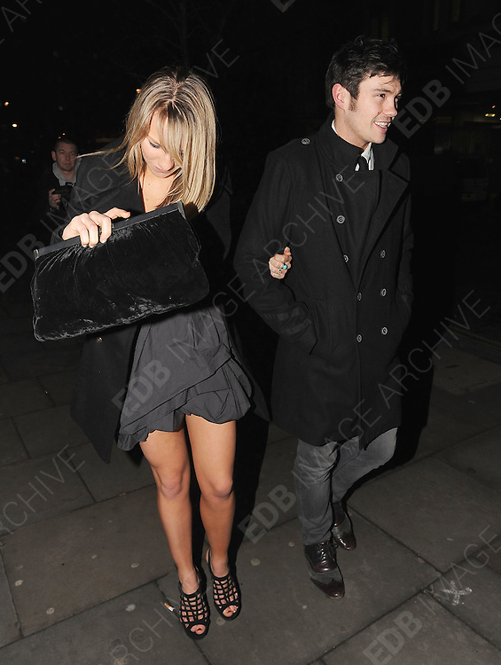 01.FEBRUARY.2011. LONDON<br /> <br /> CHLOE MADELEY AND SAM ATTWATER ATTENDING THE DANCING ON ICE PARTY AT BUNGALOW 8 IN CENTRAL LONDON<br /> <br /> BYLINE: EDBIMAGEARCHIVE.COM<br /> <br /> *THIS IMAGE IS STRICTLY FOR UK NEWSPAPERS AND MAGAZINES ONLY*<br /> *FOR WORLD WIDE SALES AND WEB USE PLEASE CONTACT EDBIMAGEARCHIVE - 0208 954 5968*