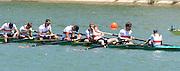 Seville. Andalusia. SPAIN.  Men's Eights Final, German Eight winning GER M8+. 2013 FISA European Rowing Championship.  Guadalquivir River.  Sunday   02/06/2013  [Mandatory Credit. Peter Spurrier/Intersport]