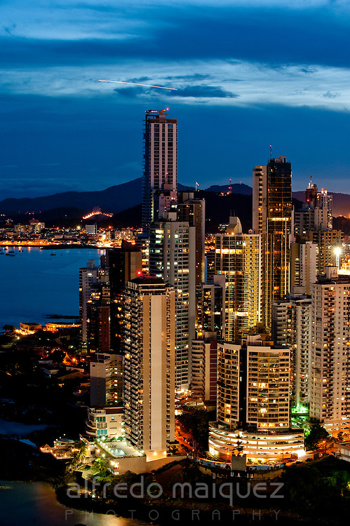 Sunset cityscape of Panama city. Panama province, Panama, Central America.