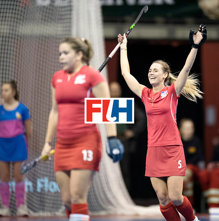 BERLIN - Indoor Hockey World Cup<br /> Women: Russia - Czech Republic<br /> foto: REICHLOVA Jindriska celebrates.<br /> WORLDSPORTPICS COPYRIGHT FRANK UIJLENBROEK
