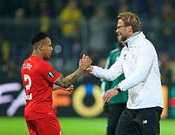 DORTMUND, GERMANY - Thursday, April 7, 2016: Liverpool's manager Jürgen Klopp and Nathaniel Clyne after the 1-1 draw against Borussia Dortmund during the UEFA Europa League Quarter-Final 1st Leg match at Westfalenstadion. (Pic by David Rawcliffe/Propaganda)