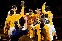 17 June 2010: Center Andrew Bynum of the Los Angeles Lakers is introduced during player introductions before playing against the Boston Celtics before the Lakers 83-79 championship victory over the Celtics in Game 7 of the NBA Finals at the STAPLES Center in Los Angeles, CA.