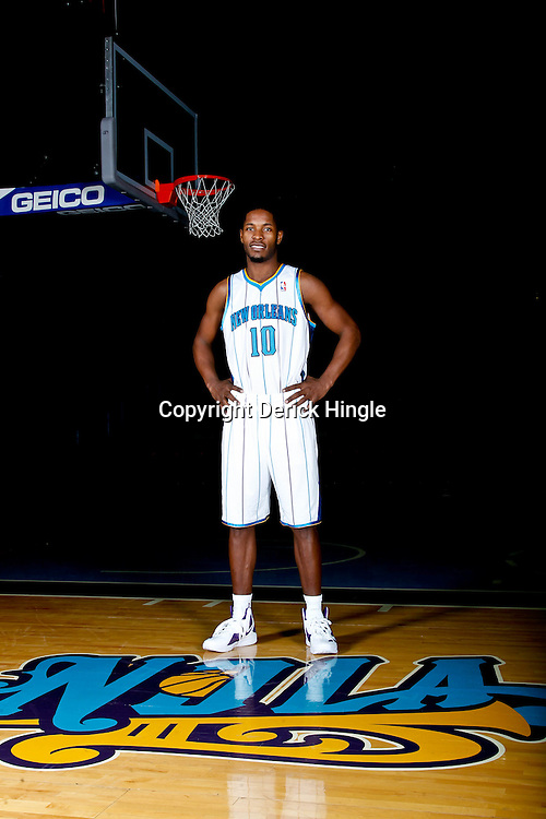 December 14, 2011; New Orleans, LA, USA; New Orleans Hornets guard Jerome Dyson (10) poses for a photo during Media Day at the New Orleans Arena.   Mandatory Credit: Derick E. Hingle-US PRESSWIRE