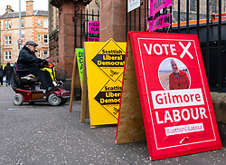 Edinburgh, Scotland, UK. 12th Dec 2019. Voting for the General Election takes place in Edinburgh East constituency. Man in a disability scooter enters polling station . Iain Masterton/Alamy Live News