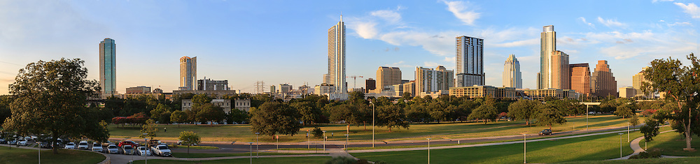 Downtown Austin Texas with Lady Bird Lake at sunset