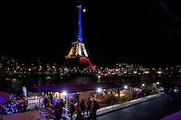 Eiffel Tower in red, white and blue