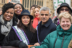 © Licensed to London News Pictures. 04/03/2018. LONDON, UK. Natalie Imbruglia, singer, Sadiq Khan, Mayor of London and Sandi Toksvig, TV presenter, join the march. Hundreds of men and women take part in the annual #March4Women campaigning for gender equality.  The walk through central London from Millbank to Trafalgar Square retraces the steps of Suffragette's ahead of International Women's Day on 8 March.  Photo credit: Stephen Chung/LNP